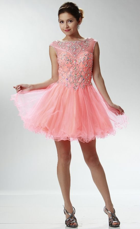 Sheer Illusion Neckline Mini Prom Dress #coralpromdress | Leahnora\'s ...