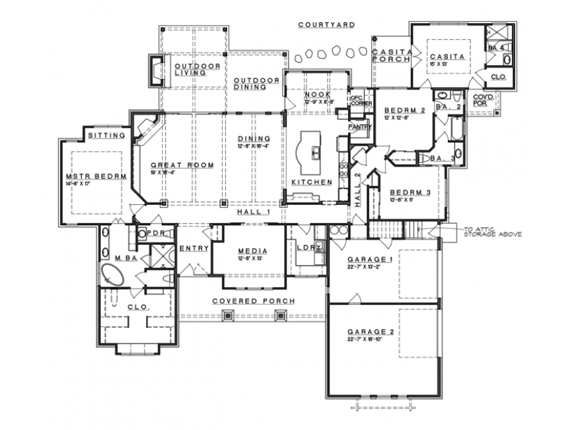 Ranch style open floor plans with basement level 1 view for Ranch basement floor plans