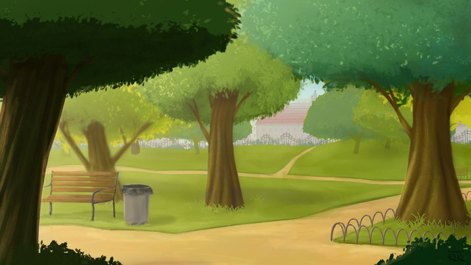 cartoon 2d backgrounds park | ... studio riki short i ...