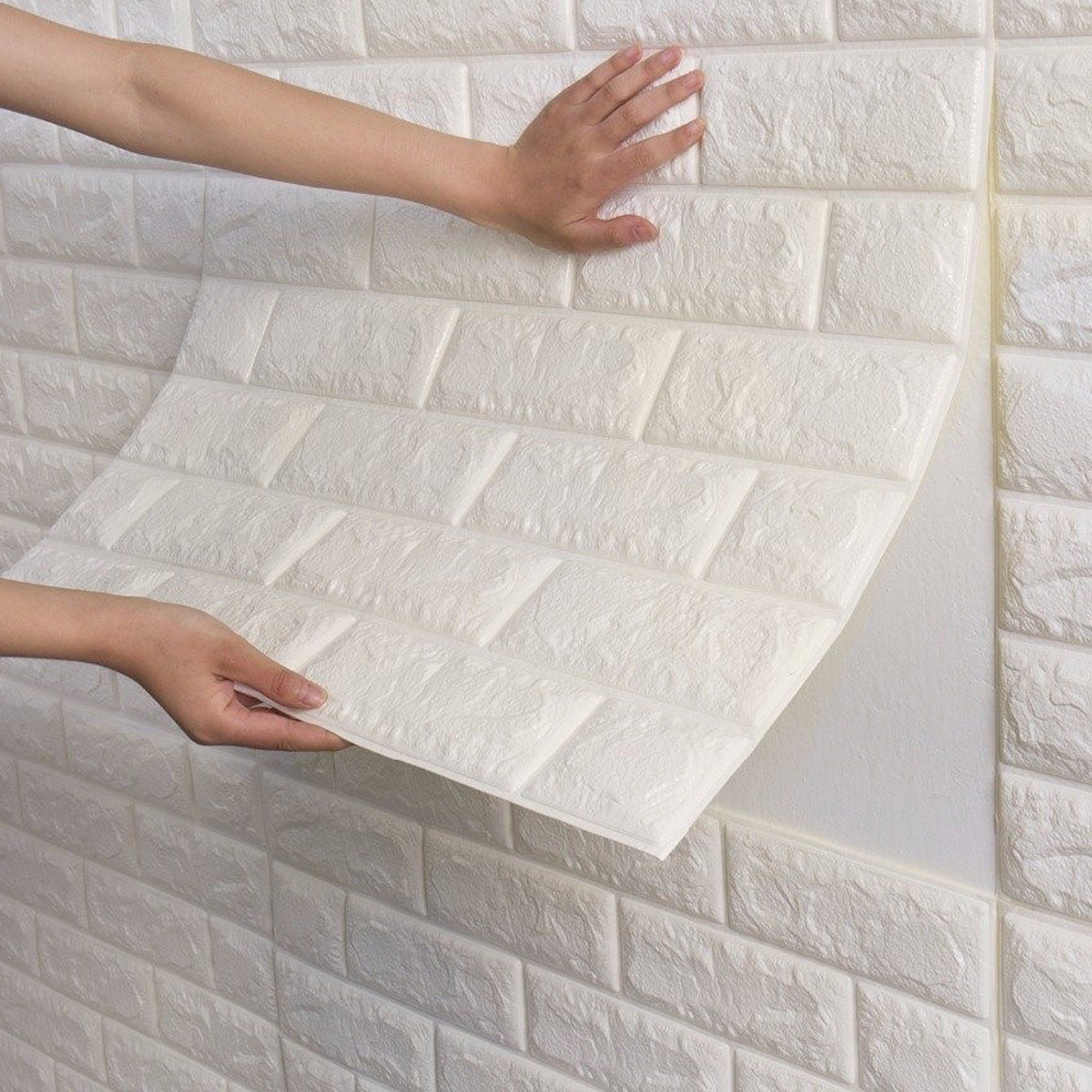 Nk 1 500 Pieces Pe Foam Self Adhesive 3d Wall Stickers Wallpaper Embossed Brick Ceramic Tile Stone Wall Panels Decals Walmart Com In 2021 Stone Wall Panels White Brick Wallpaper Faux Brick Wall Panels
