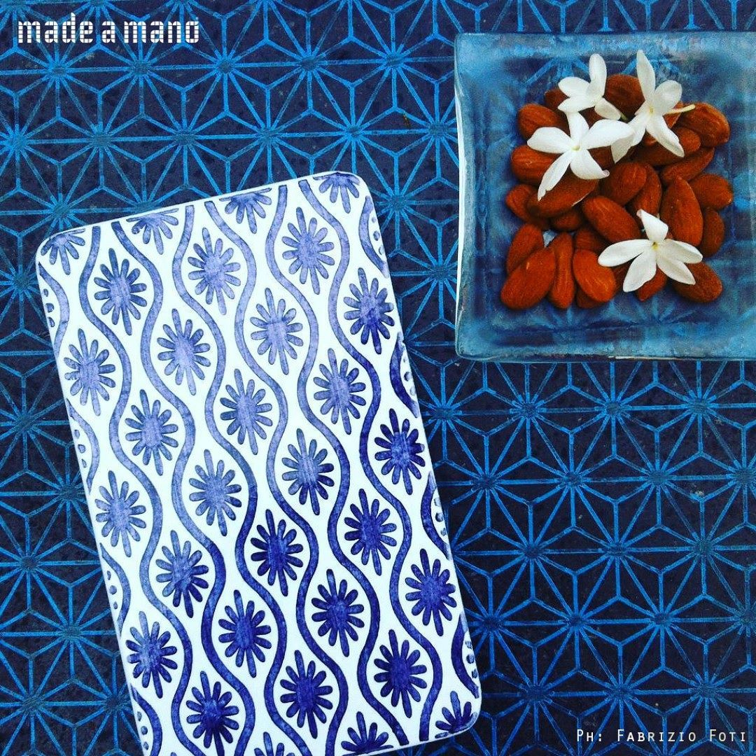 Made A Mano Piastrelle The Blue Waves The Blue Suns The Blue Stars Almonds And Jasmine
