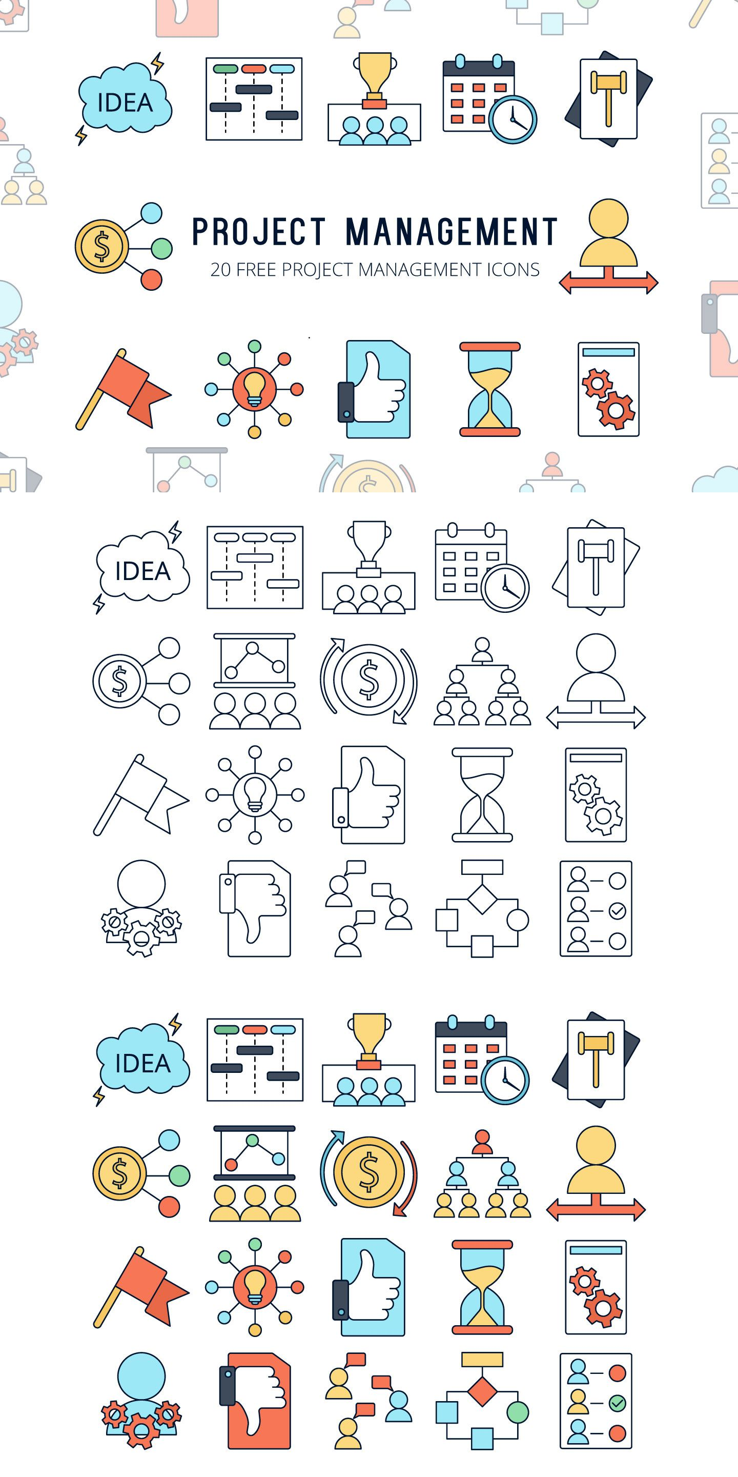 Project Management Vector Free Icon Set Icon set, Vector