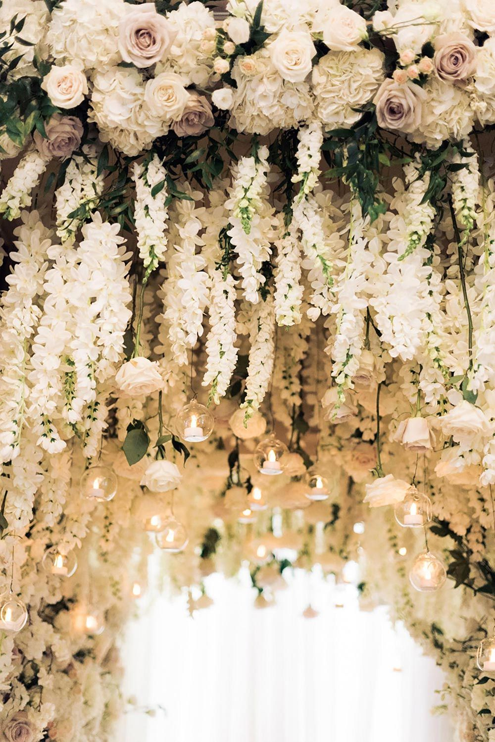 Luxurious Chateau Laurier Wedding With Floral Tunnel Ruffled Wedding Ceiling Wedding Ceiling Decorations Wedding Decorations