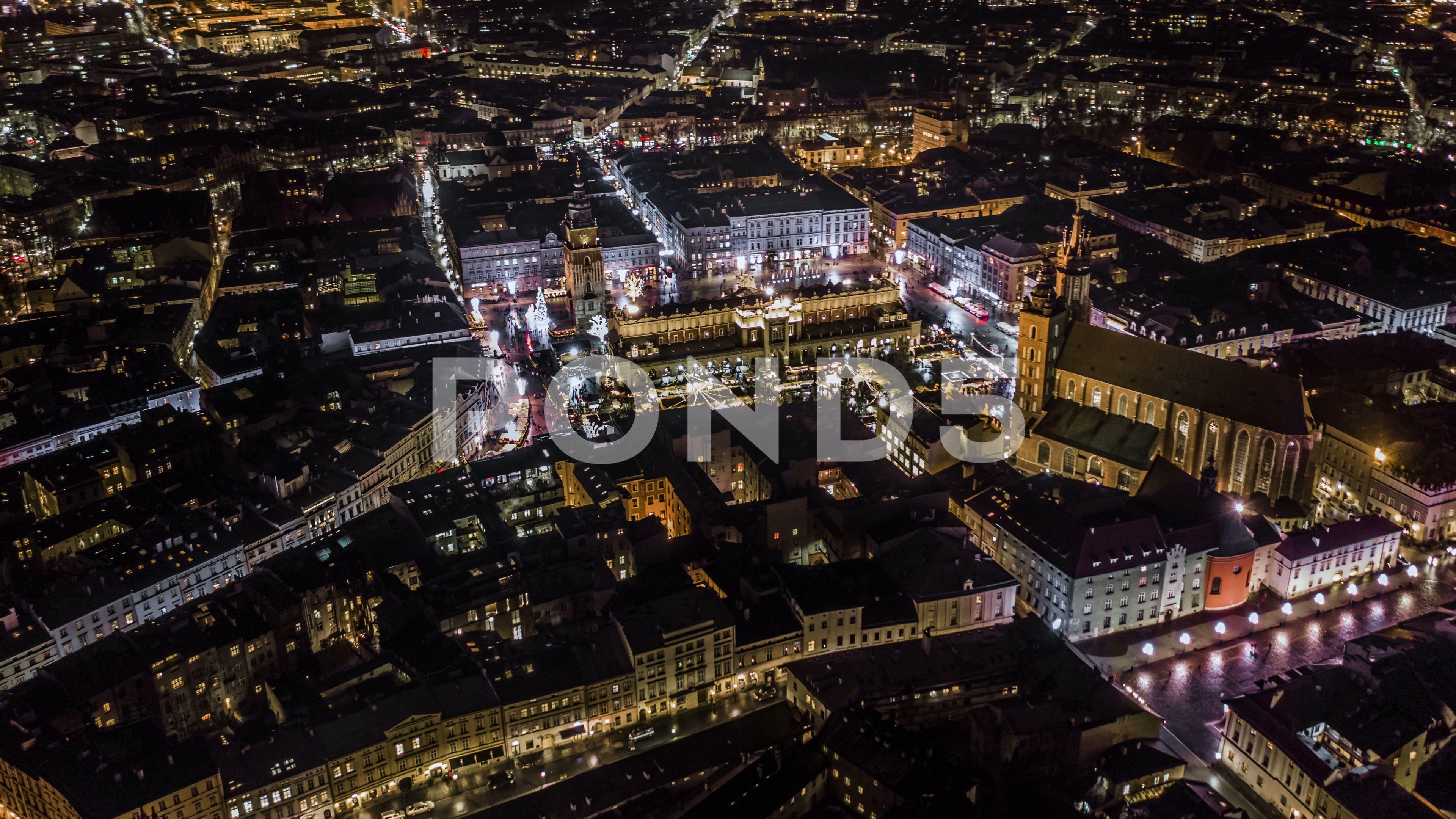 Hyper lapse of night Krakow old city aerial 4k nightKrakowHyperlapse