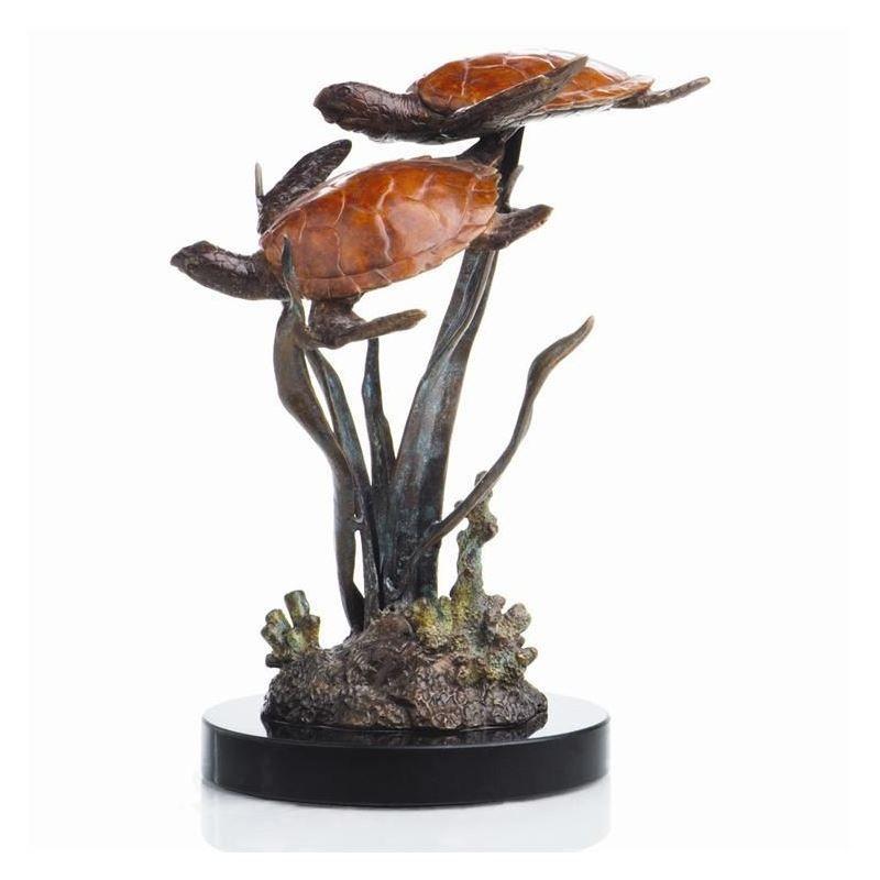 SPI Home 80098 Double Sea Turtles Brass Sculpture//Statue//Figurine