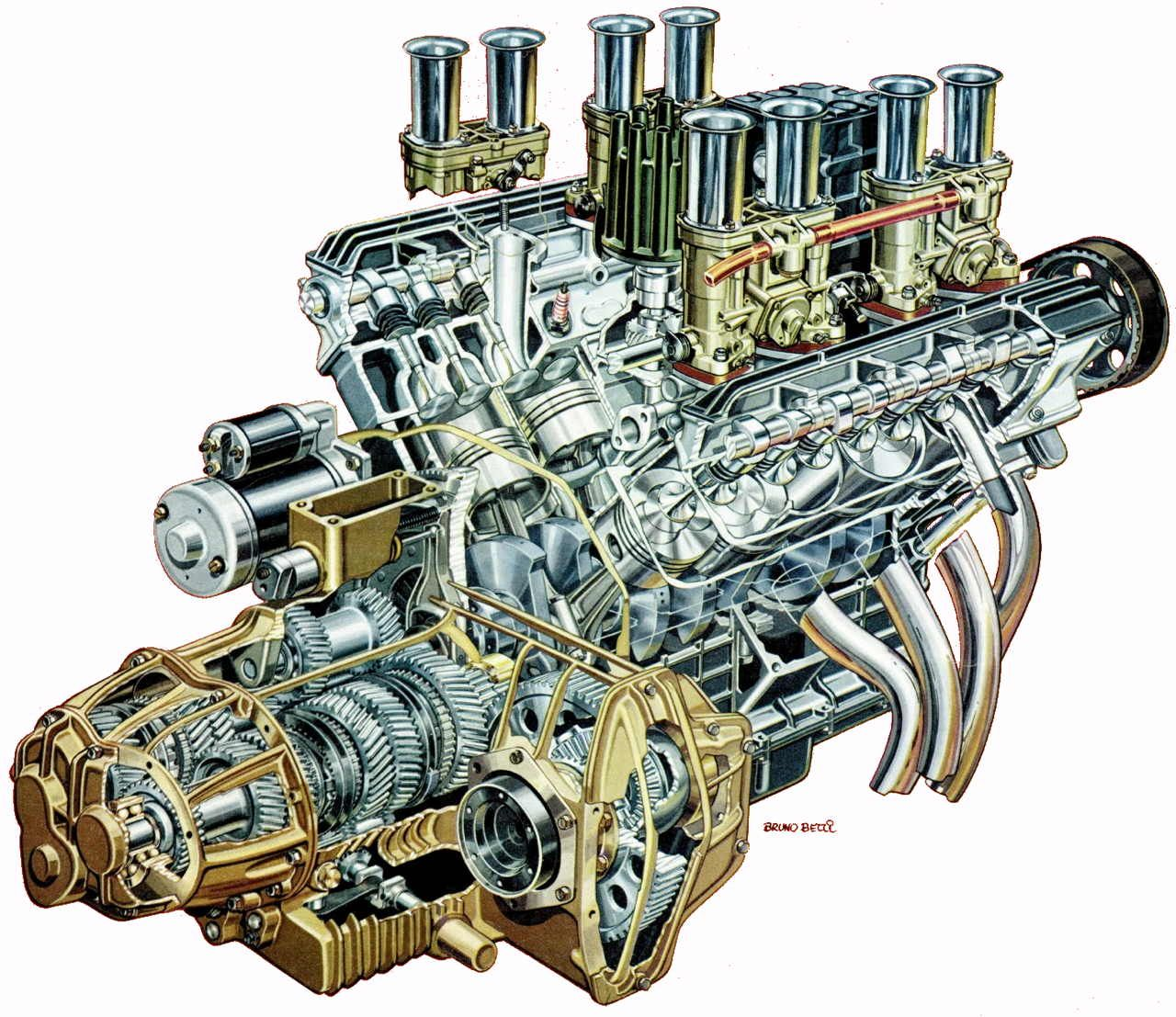 V8 engine cutaway illustration – Lambo Engine Diagram