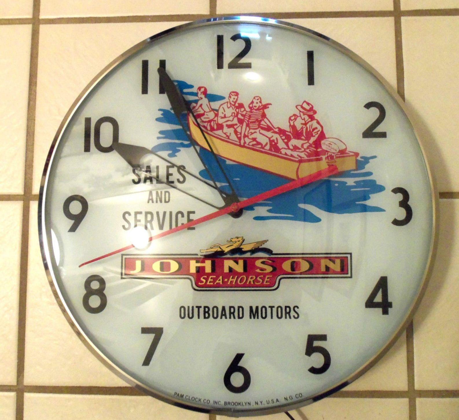 Johnson Seahorse Outboard Motors Clock Nautical Clocks