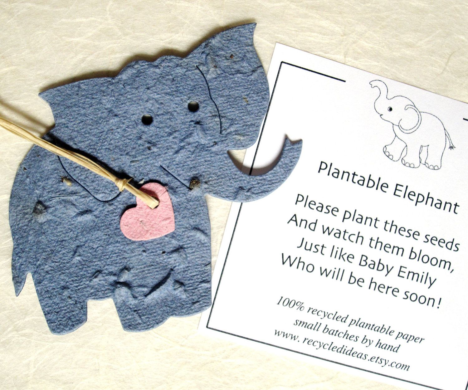 25 Plantable Elephant Baby Shower Favors - Flower Seed Paper ...