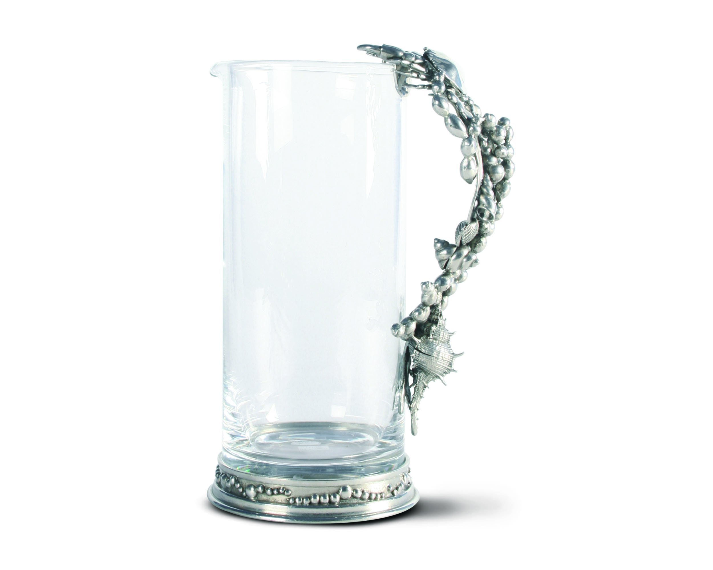 Glass pitcher pewter marine life handle glass pitchers
