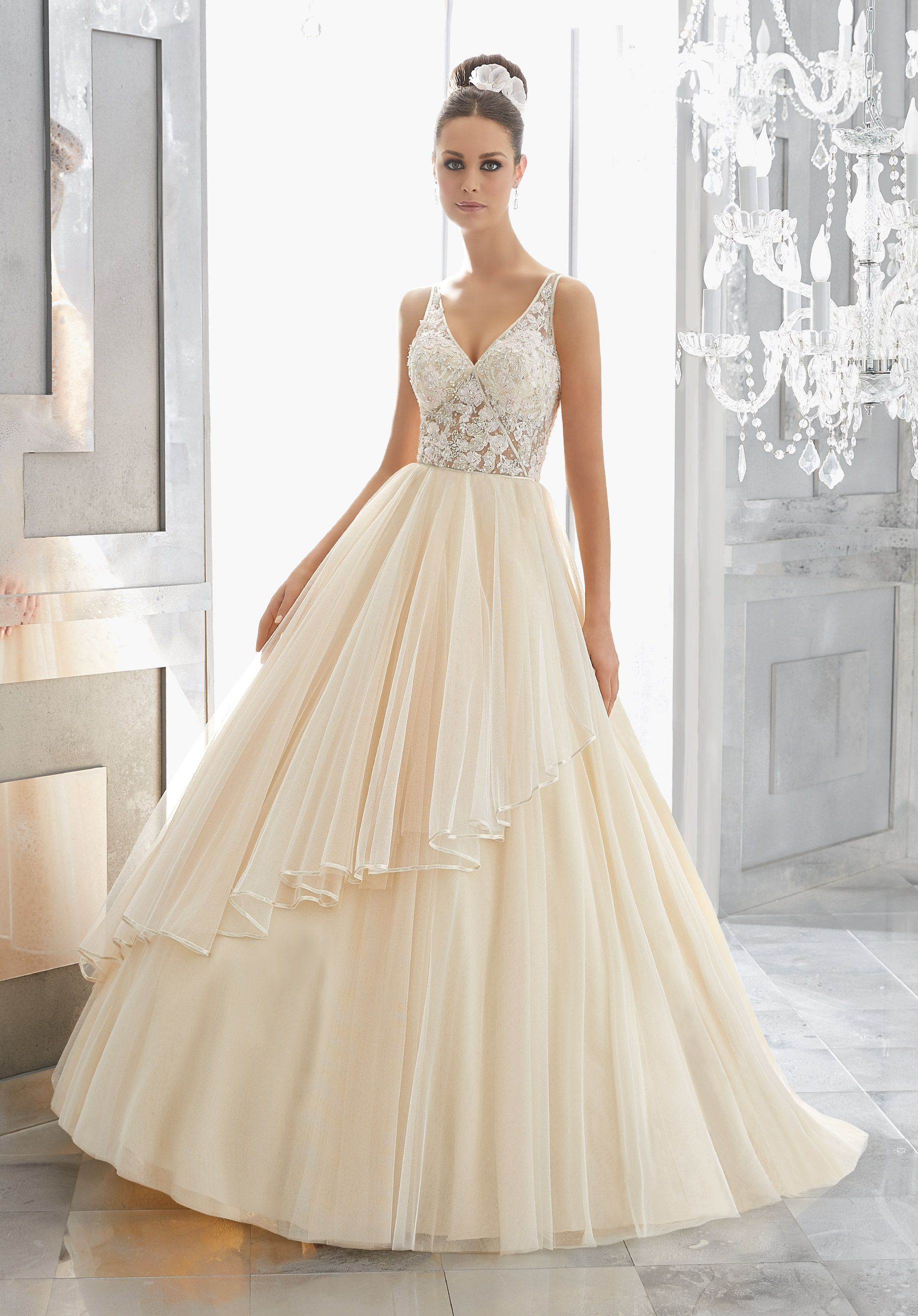 This Dreamy Bridal Ballgown Features A Delicate Crystal Beaded And Embroidered Sheer Bodice Paired With Silky Net Ball Gown Finished In Ribbon Edging
