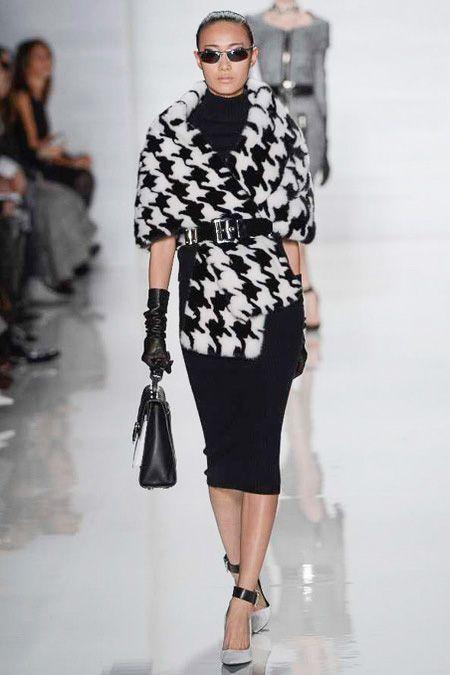 MonoHoundstooth Pattern #Fur #Scarf #Fashion #Trend forFall Winter 2013 I Michael Kors #Fall2013