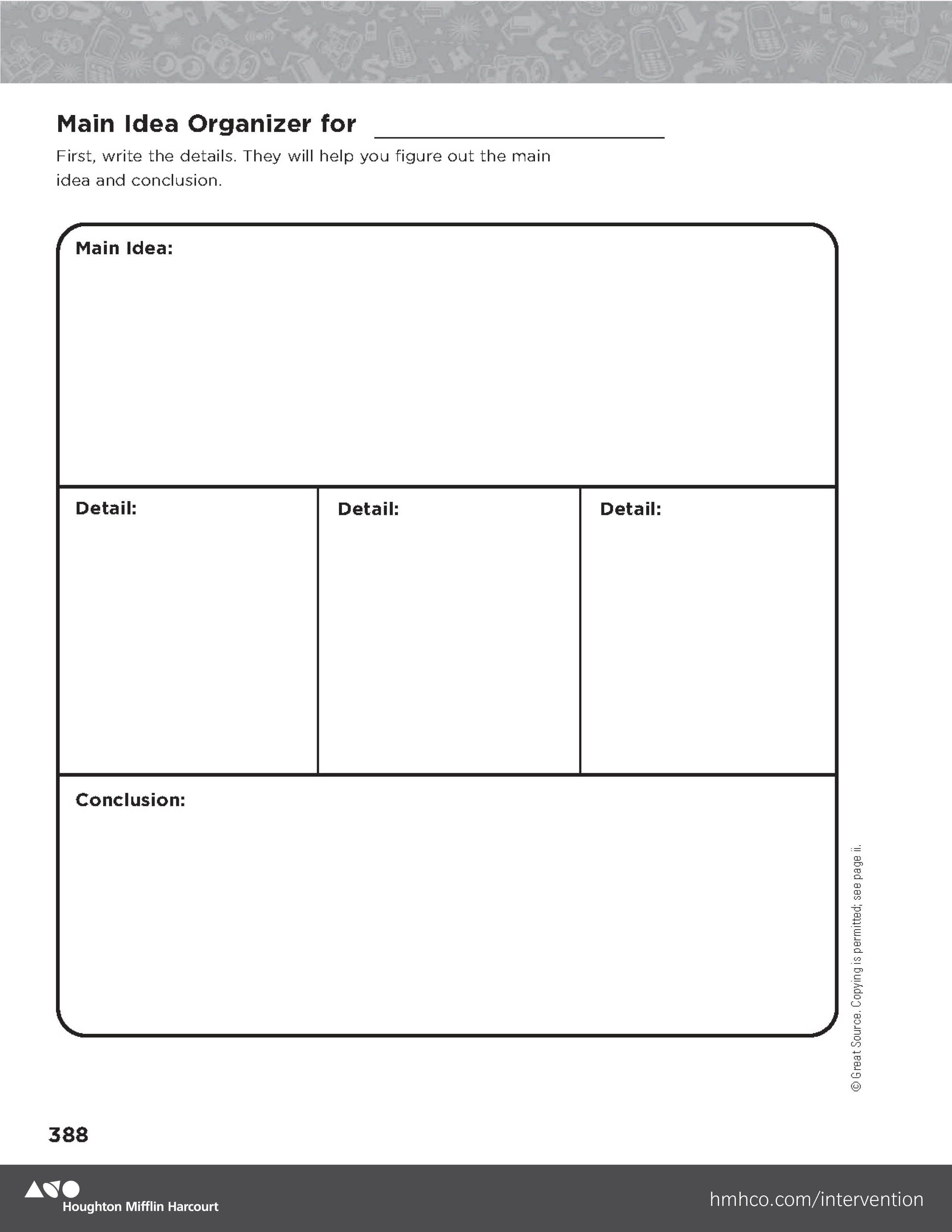 Main Idea Organizer Grades 6 8 Download And Print This Main Idea Gaphic Organizer Visit Hmhco Com Inter Reading Intervention Intervention Teaching Reading [ 3300 x 2550 Pixel ]