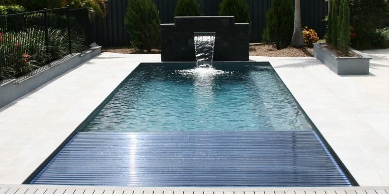 Reflection With Auto Cover Leisure Pools New Zealand Leisure Pools Fiberglass Pools Pool Patio
