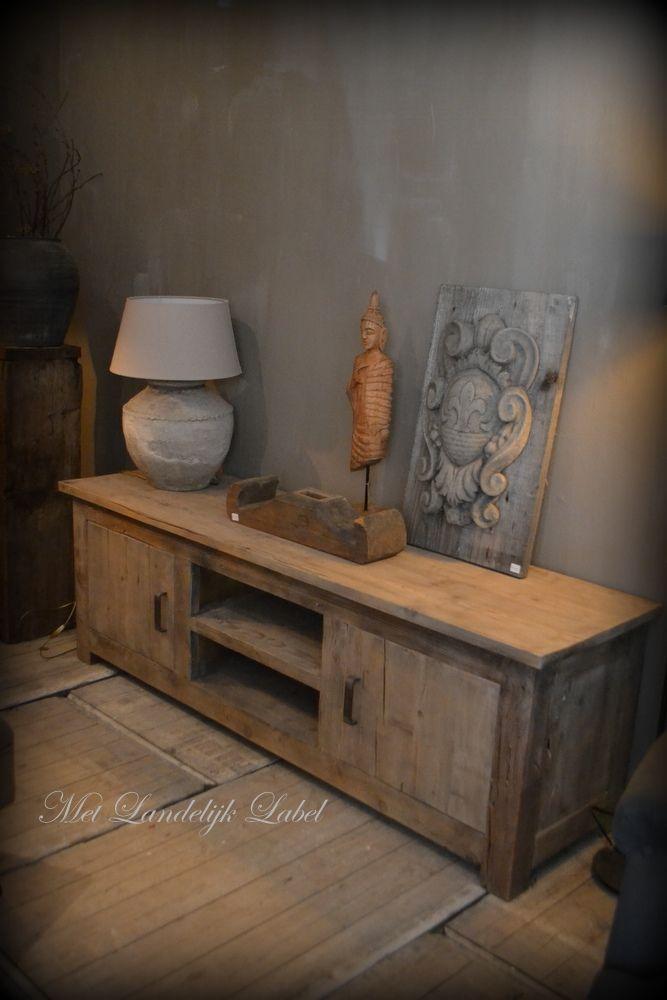 Prijs 599 vanaf 120 cm breed stoer tv meubel van oud grenen ook mogelijk in eiken - Eigentijdse eetkamer decoratie ...