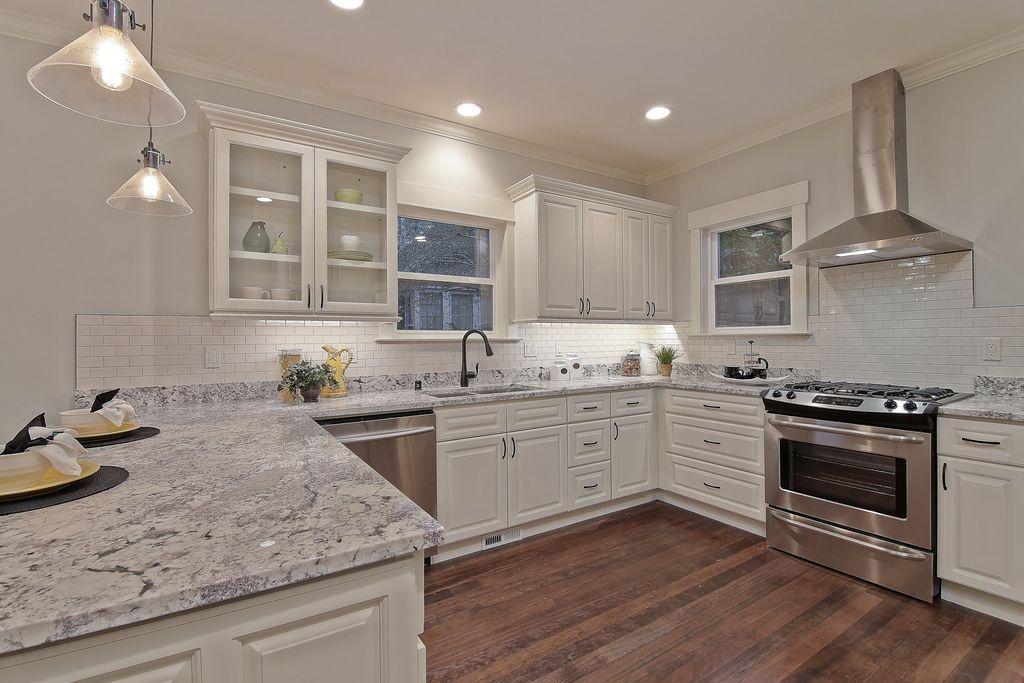 Traditional Kitchen With Salinas White Granite Flush Light