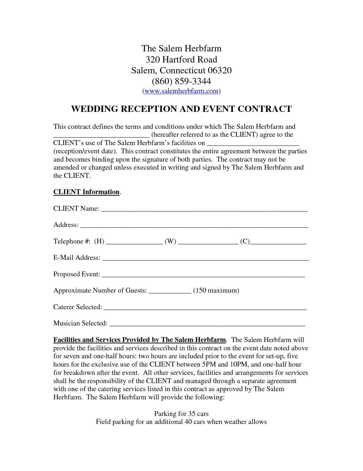 Venue Rental Contract Template Free Inspirational Wedding