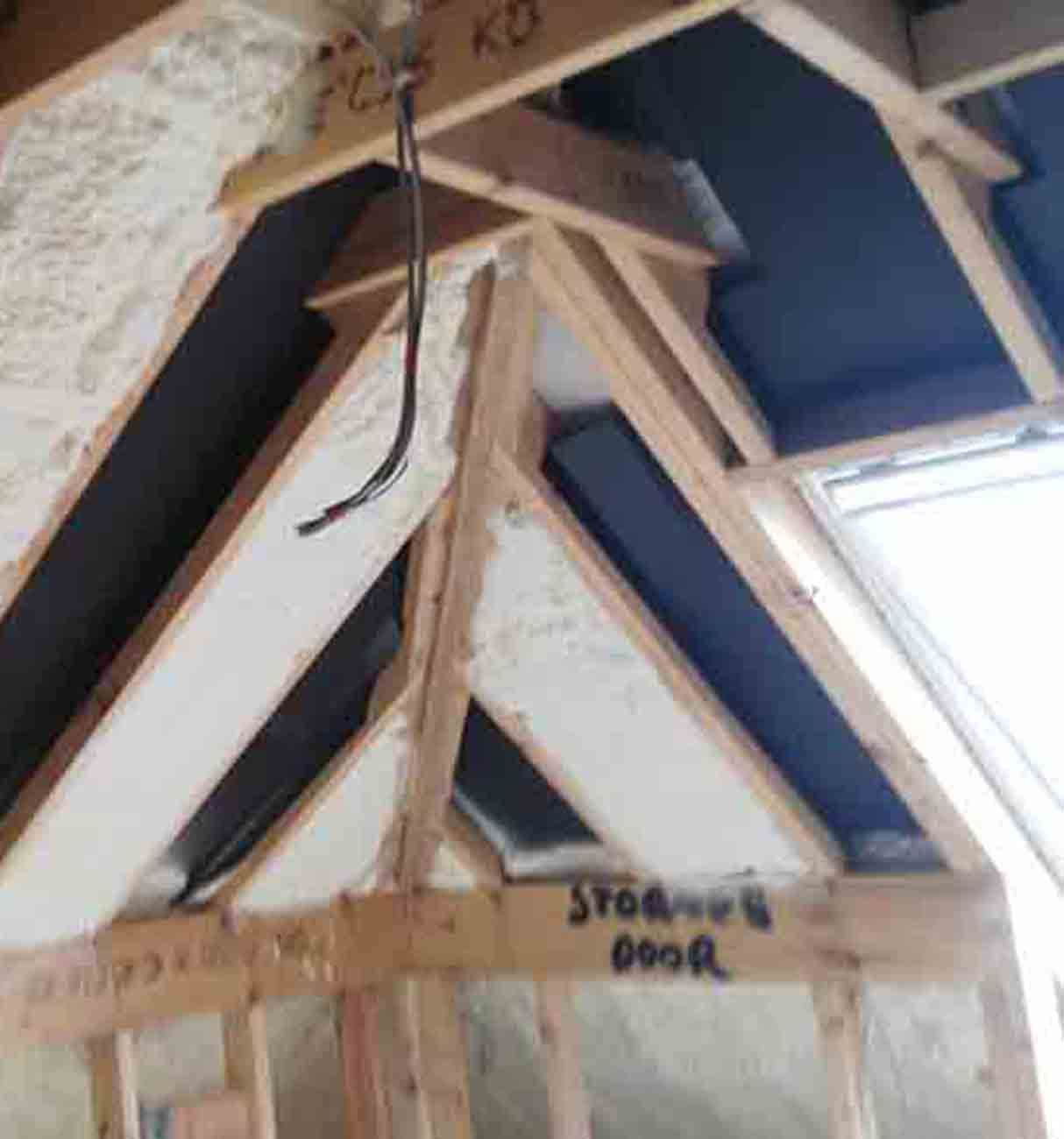 Foam On Vent Card Attic Renovation Attic Insulation Attic Flooring