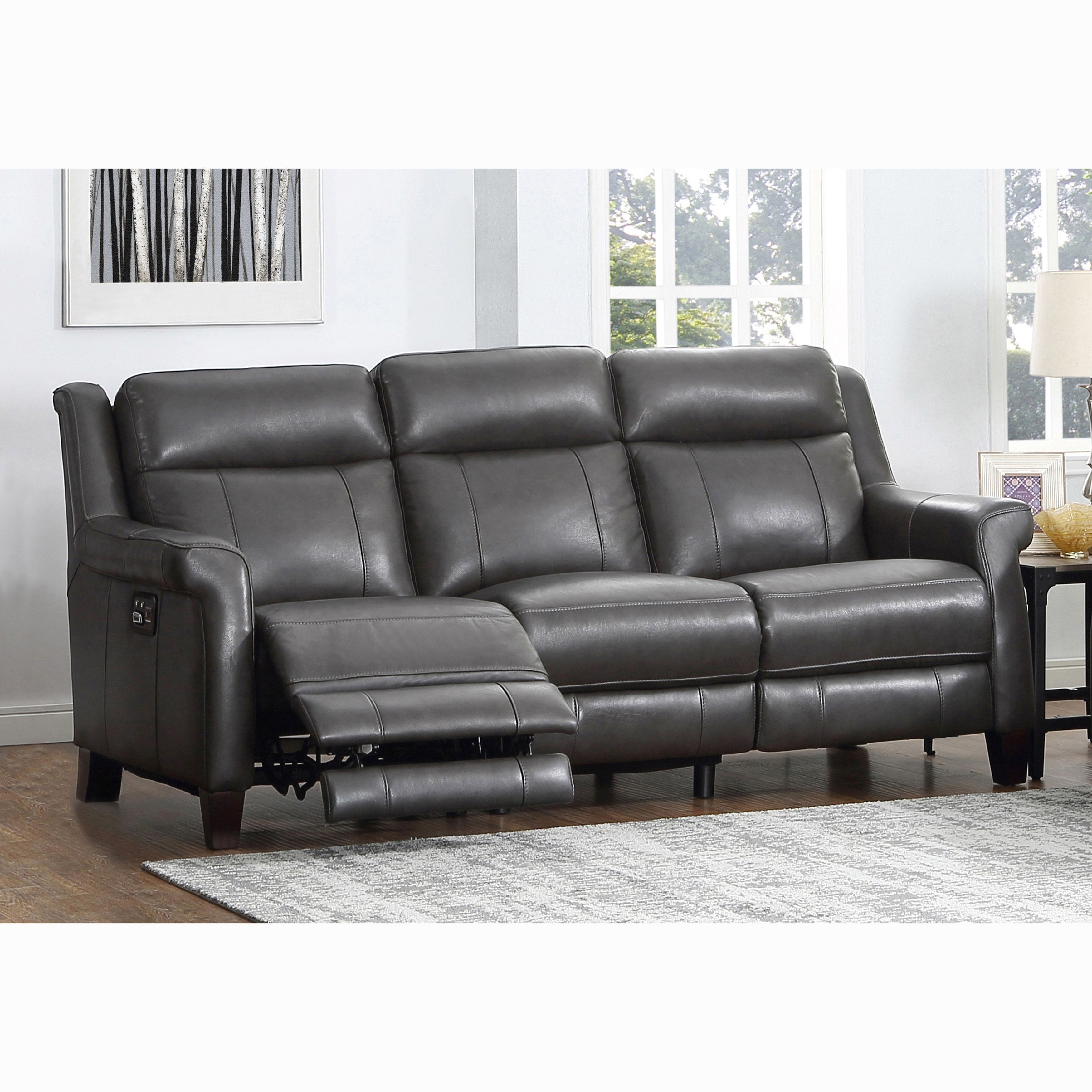 Alex Grey Top Grain Leather Power Reclining Sofa with Power