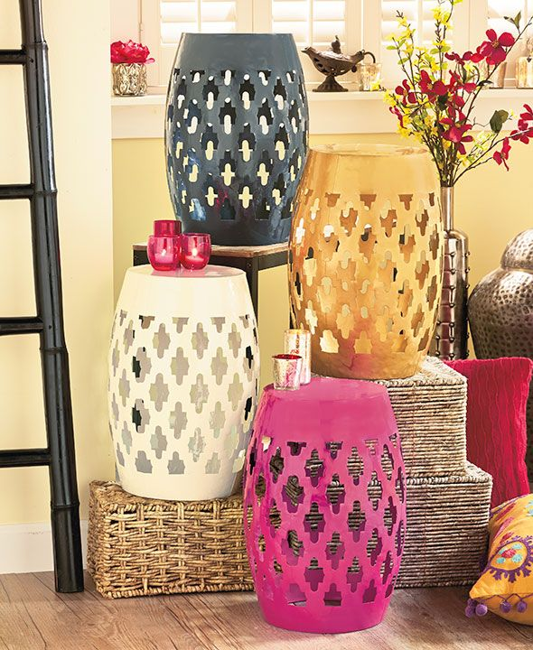 Moroccan Lattice Accent Stools Decor Shabby Chic Table