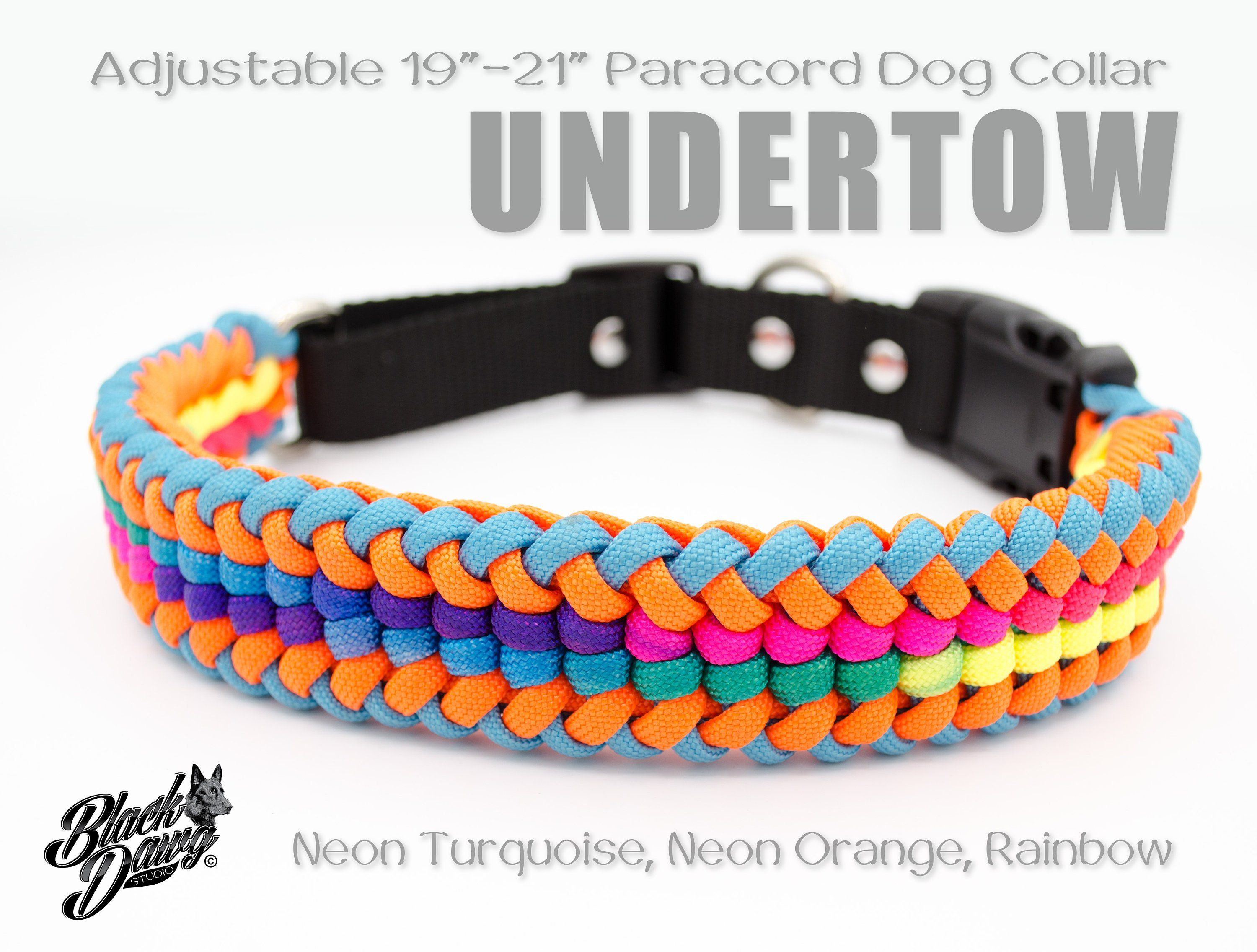 Adjustable 19 21 Paracord Dog Collar Undertow Design Neon