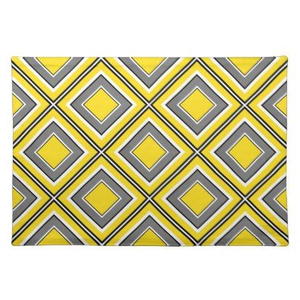 Gray Yellow Diamond Geometric Placemat Black And White Gifts Unique Special B W Style Grey Yellow Yellow Diamond Placemats Patterns
