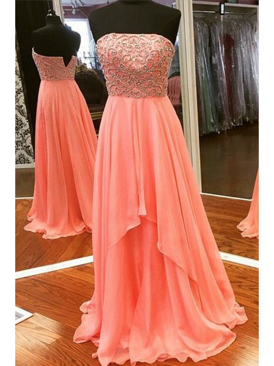 Aline strapless beaded chiffon long prom dresses party evening