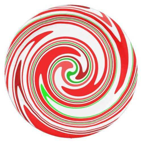Candy Cane Swirl Red White Green Festive Paper Plate  sc 1 st  Pinterest & Candy Cane Swirl Red White Green Festive Paper Plate | Candy canes