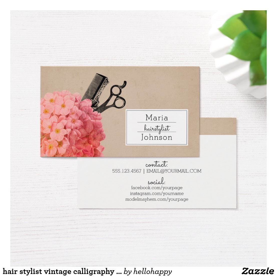 hair stylist vintage calligraphy hairstylist business card ...