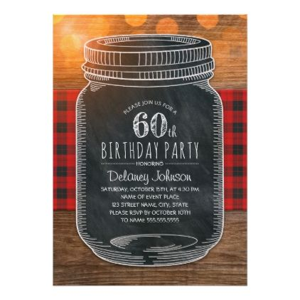 Rustic Mason Jar Backyard 60th Birthday Party Card