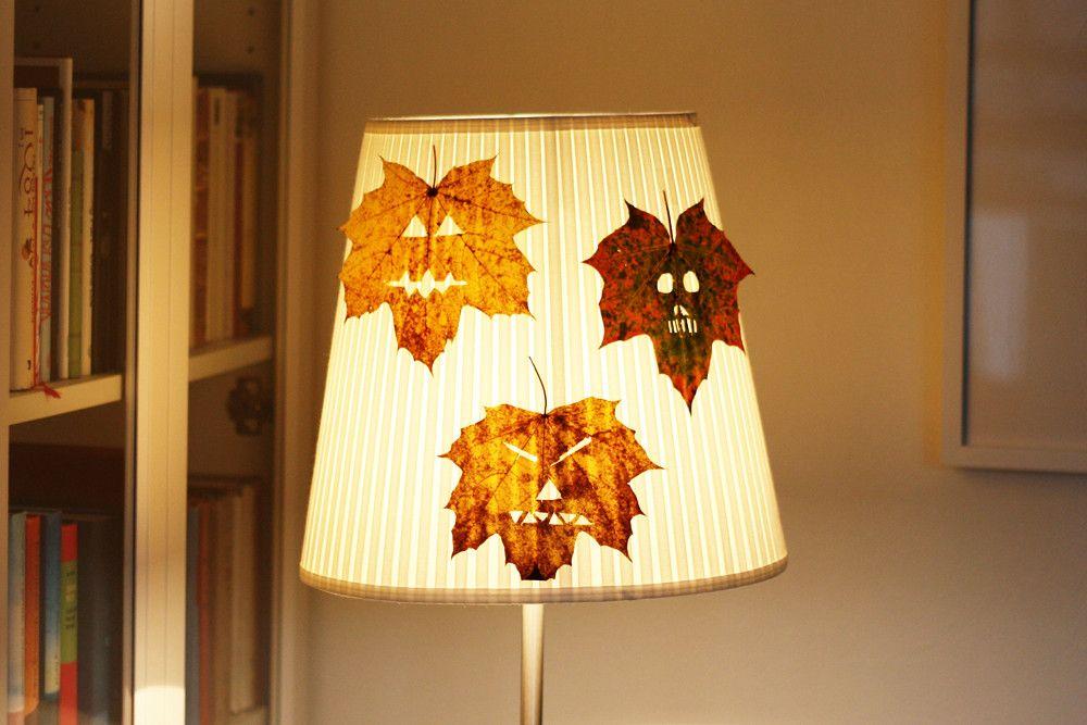 Decoraci n casera para halloween con hojas de rboles - Decoracion halloween casera ...