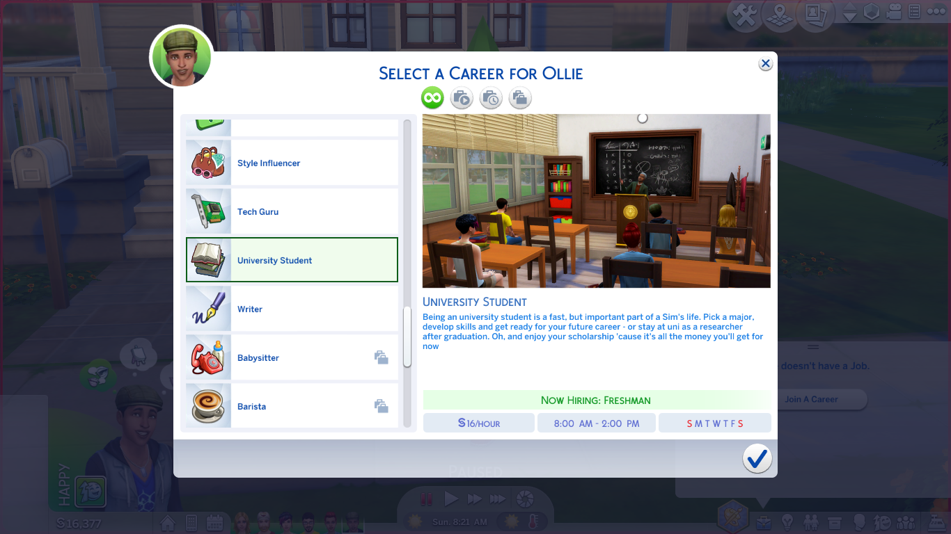 Mod The Sims UPDATED University Student Career