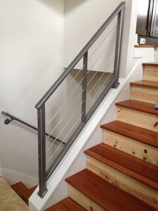 Custom interior cable railing with 3 16 stainless steel cables and iron framework cable for Stainless steel railings interior