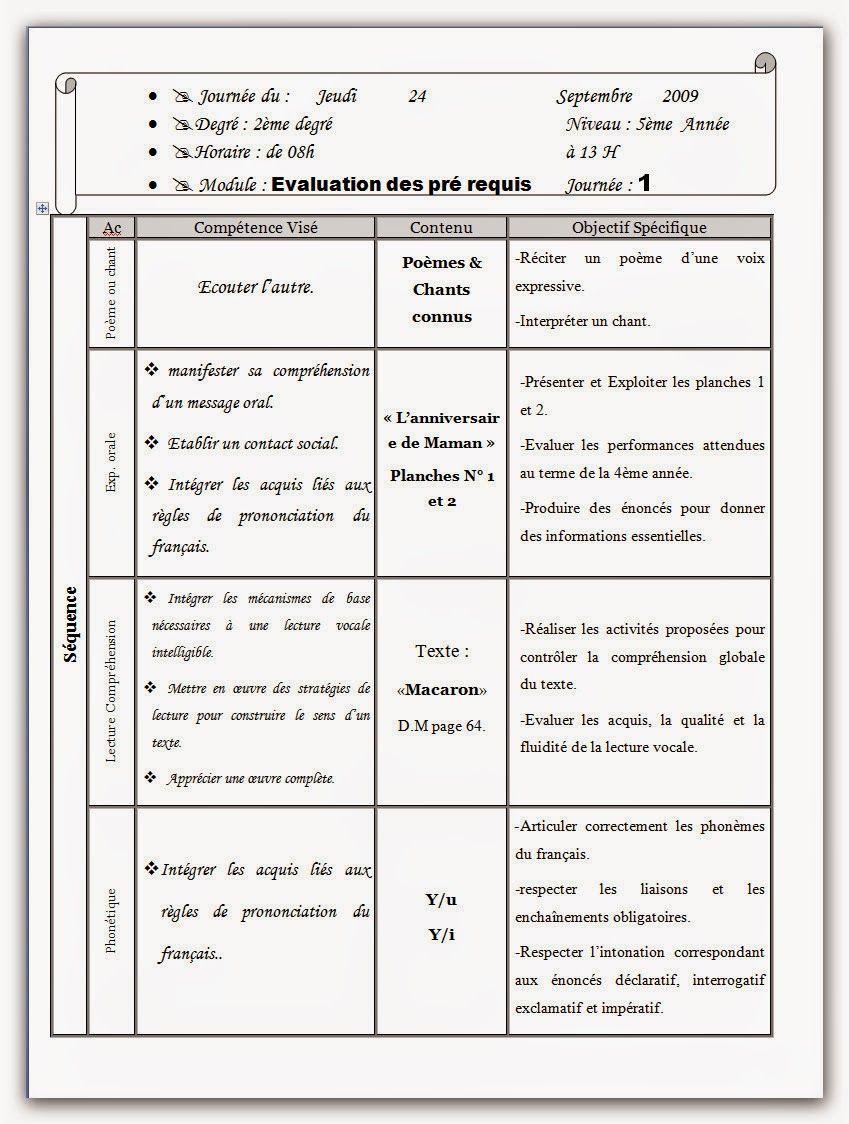 Journal De Classe Francais Tout Les Modules V Pour Chaque