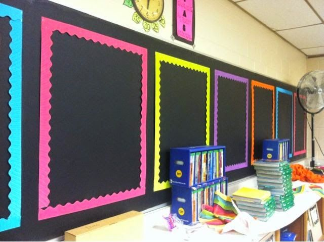 Classroom Wallpaper Design : Black background with neon boarders brightens the