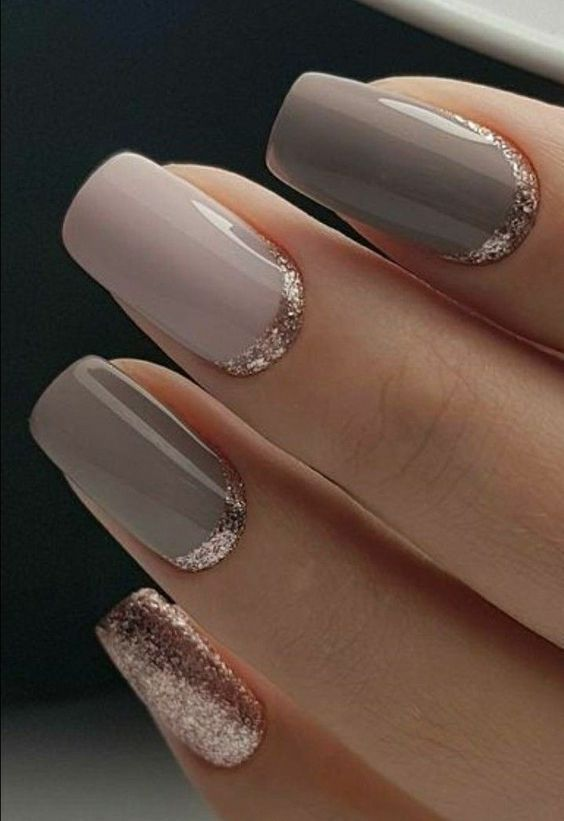 Can Never Go Wrong With Neutral Colors And Cool Silver Glitter Border At Bottom Of Nail Affiliate Glitterhai Gold Gel Nails Gold Nail Designs Special Nails
