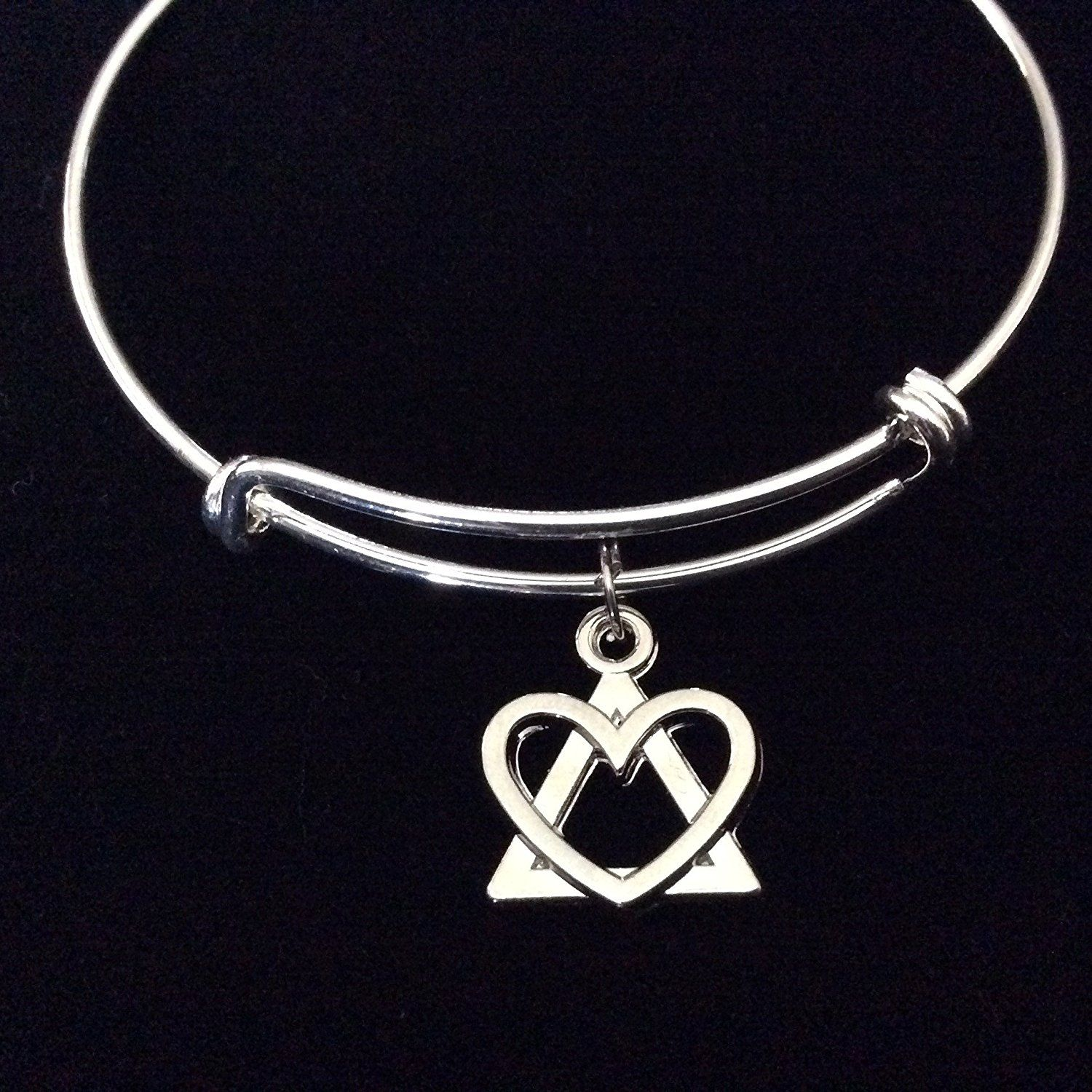 Triangle and heart expandable silver charm bracelet adjustable triangle and heart expandable silver charm bracelet adjustable wire bangle adoption symbol for more buycottarizona Image collections