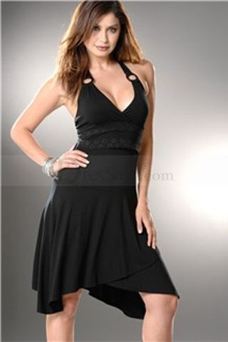 Black Satin Halter Favorite Eco-friendly Gown $124