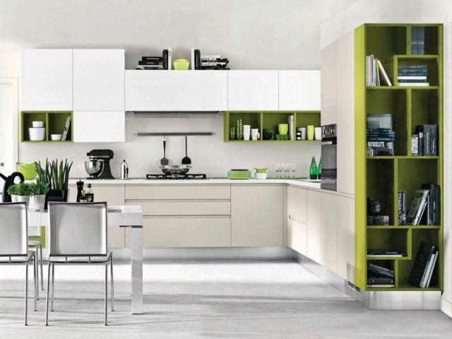 weiß grüne küche essplatz einrichten ideen modern | ideen küche, Hause ideen