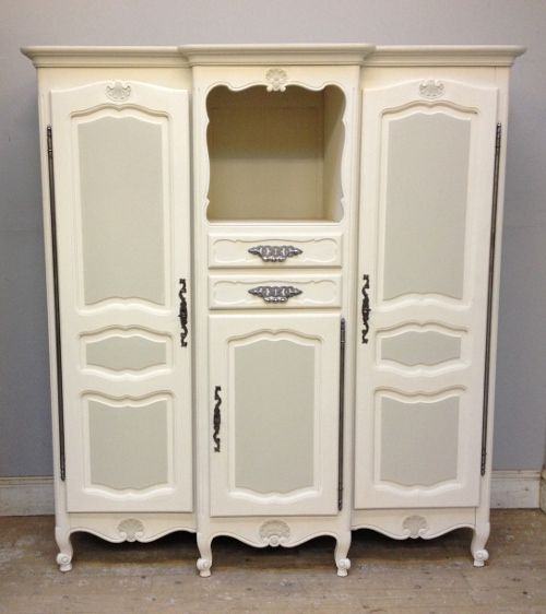 Petite French Armoire / Painted Lime White U0026 Old White / Vintage Furniture  / French Furniture