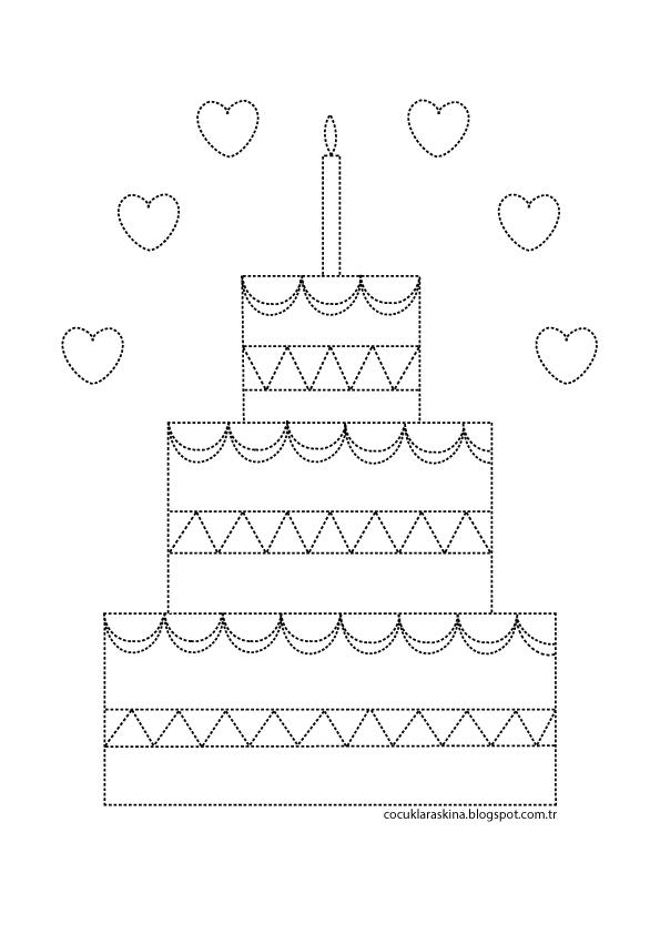 çocuklar Aşkına Pasta çizgi çalışması Ve Boyama Printables