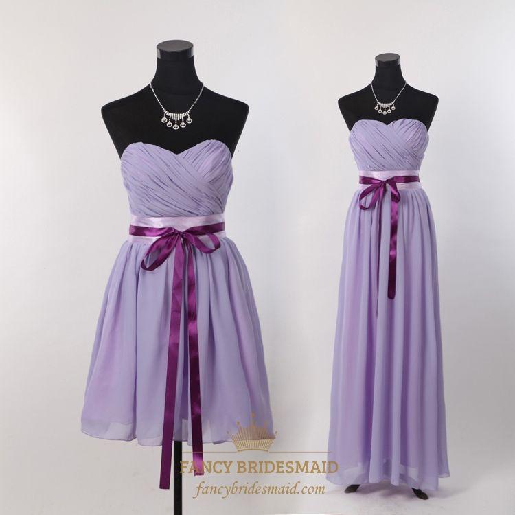 Short Strapless Chiffon Bridesmaid Dress, Lilac Short Bridesmaid ...