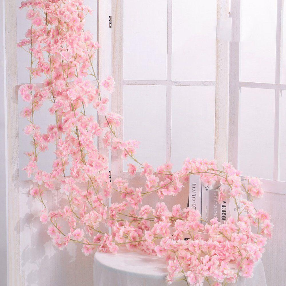 Willstar Artificial Cherry Blossom Garland Rattan Fake Flower Hanging Wedding Decor Plant Walmart Com In 2021 Fake Flowers Decor Cherry Blossom Decor Flower Bedroom