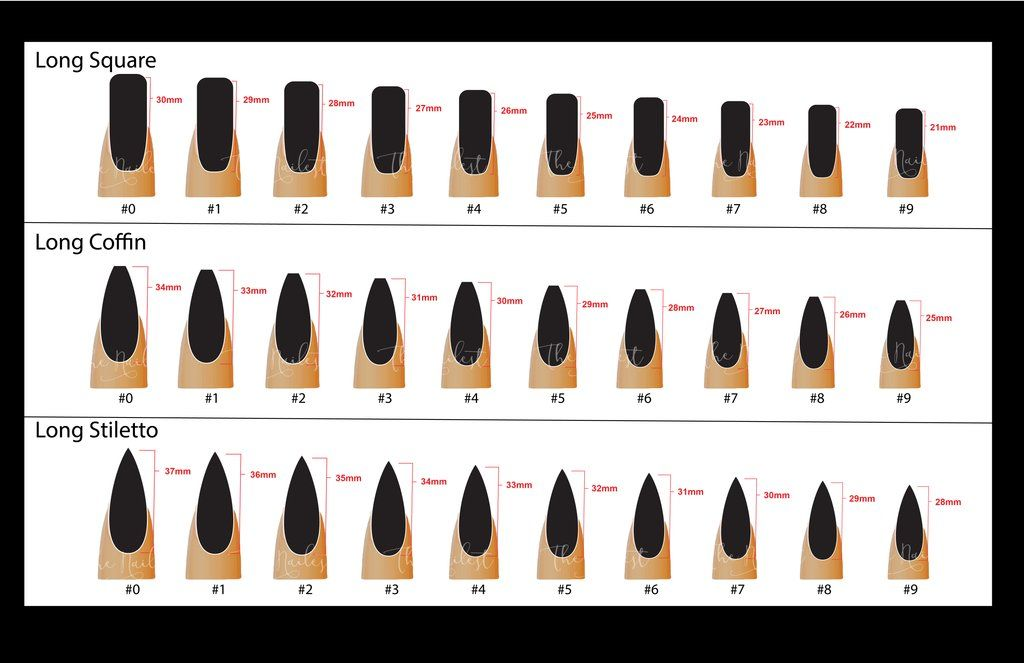 Sizing Chart The Nailest Glue on nails, Press on nails