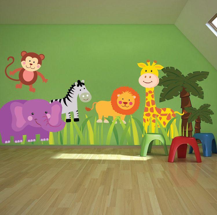 Home Shop Wall Decals All Nursery Zoo Mural Decal Ideas Stars Neutral Ideias De Decoracao Quarto De Bebe Biblioteca Infantil Decoracao Sala De Aula