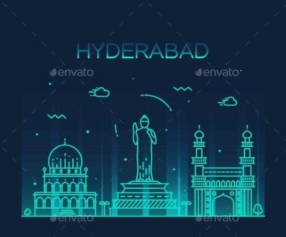Hyderabad Skyline Vector Illustration Linear by gropgrop Hyderabad skyline detailed silhouette Trendy vector illustration linear style