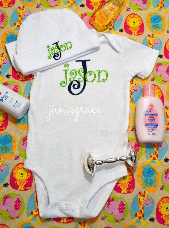 63e278036 Personalized Lime Green and Navy Baby Boy Short or Long Sleeve ...