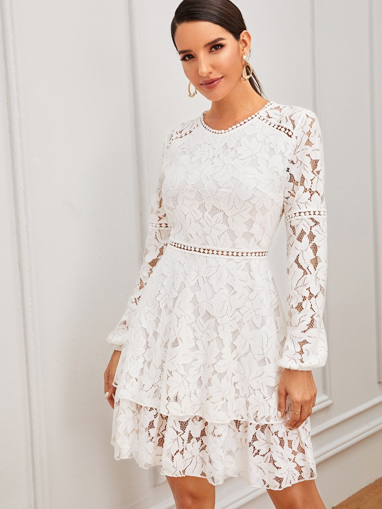 Ad Zip Back Layered Lace Dress Tags Romantic White Plain Round Neck Short A Line Party Dresses With Sleeves Lace Dress Casual Long Sleeve Casual Dress [ 1785 x 1340 Pixel ]