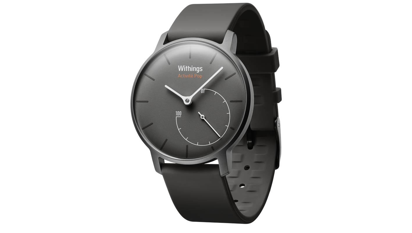 Activite Pop - a smart watch that is an analog watch. Links up with an iphone and tracks running, swimming, sleeping and even automatically updates the time based on your timezone.