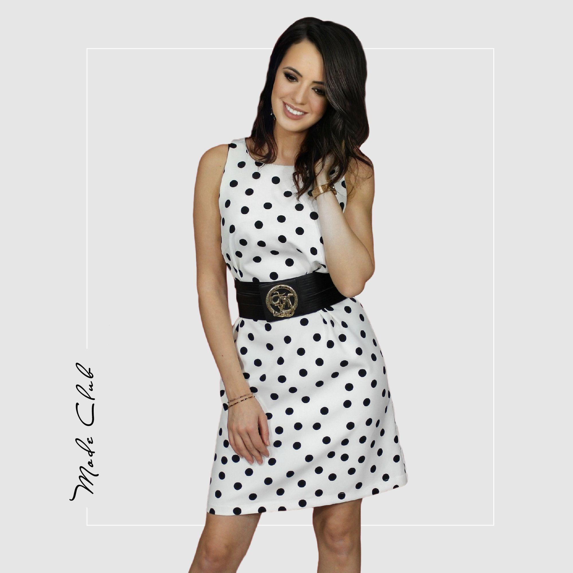 Kleid mit Punktmuster, Etuikleid schwarz-weiß mit ...