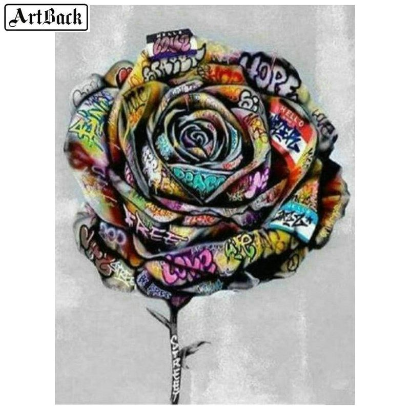 Flower Rose DIY Diamond Sticker Embroidery Cross Stitch Painting by Number Kit